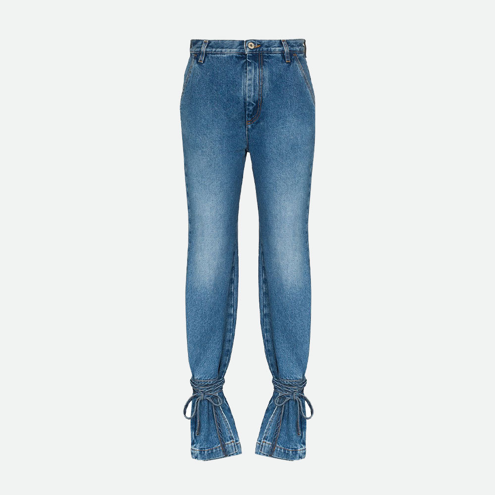 LOEWE HIGH-WAISTED ANKLE TIE JEANS | Best Blue and Light Blue Jeans
